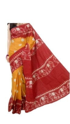 Orange and Red Hand Batik Print Saree-yespoho