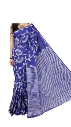 Floral Design Dark Blue Hand Batik Print Saree