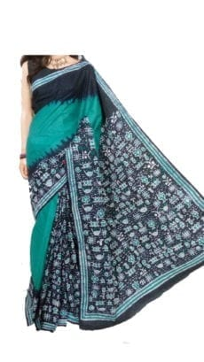 Green And Dark Blue Batik Print Saree