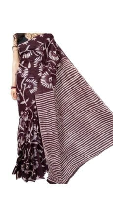 Chocolate Brown Hand Battick Work Saree-yespoho