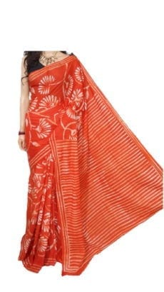 Bright Orange Hand Battick Work Saree-yespoho