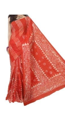 Orange Hand Battick Work Saree-yespoho