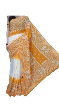 White & Orange Hand Battick Work Saree-yespoho