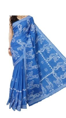 Light Blue Hand Battick Work Saree-yespoho