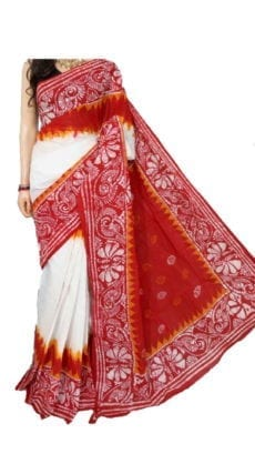 White & Bright red Hand Battick Work Saree-yespoho