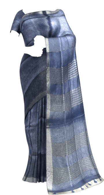 Blue Tissue Linen Saree with Dovi Border Diwali Sale Tissue Linen Sarees Yespoho Sarees New Arrivals
