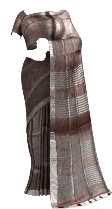 Light chocolate Tissue linen Saree with Dovi Border Thanksgiving Tissue Linen Sarees Winter Sale Yespoho Sarees New Arrivals