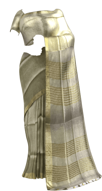 Cream & Gold Tissue Linen Saree with Dovi border Dussehra Sale Tissue Linen Sarees Yespoho Sarees New Arrivals