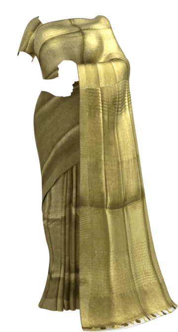 Golden Tissue linen with Dovi border Tissue Linen Sarees Yespoho Sarees