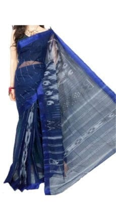 Light Blue & Dark Blue Dhanekali Tant Saree-yespoho