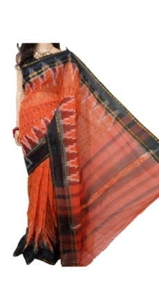 Light Orenge & Dark Blue Dhanekali Tant Saree-yespoho