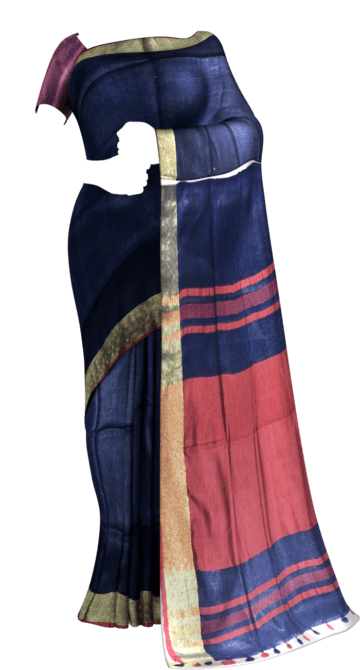 Dark Blue & Red Linen Saree With Gold Border Linen Sarees Thanksgiving Winter Sale Yespoho Sarees New Arrivals