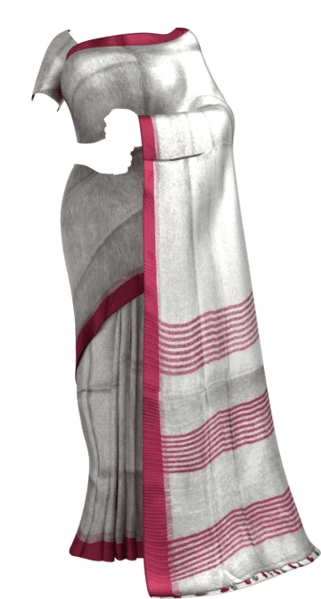 Silver tissue linen with pink border Dussehra Sale Linen Sarees Yespoho Sarees New Arrivals