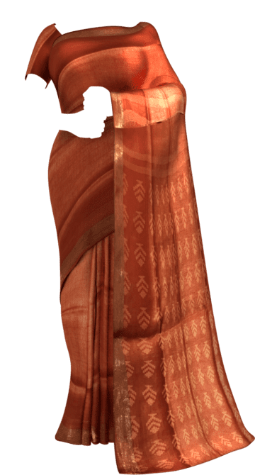 Orange silk linen saree with cutwork pallu Linen Sarees Onam Sale Yespoho Sarees New Arrivals