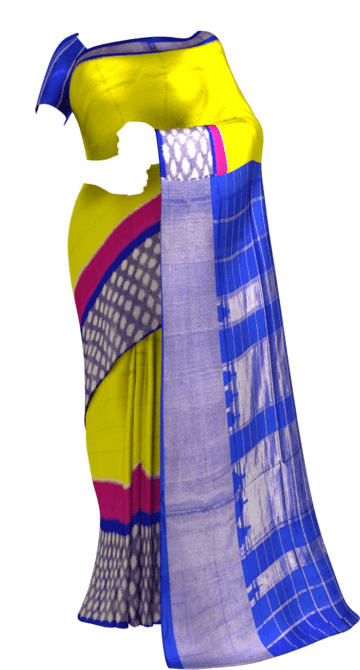 Ikkat yellow with blue checks saree with rich pallu Saree20 Yespoho Sarees Ikkat Sarees
