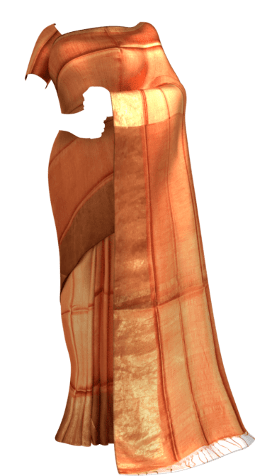 Rustic Orange Tussar Munga Silk Saree Tussar Silk Yespoho Sarees New Arrivals