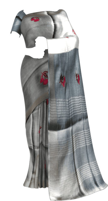 Silver Tissue Linen Saree With An Embroidery Diwali Sale Linen Sarees Yespoho Sarees New Arrivals
