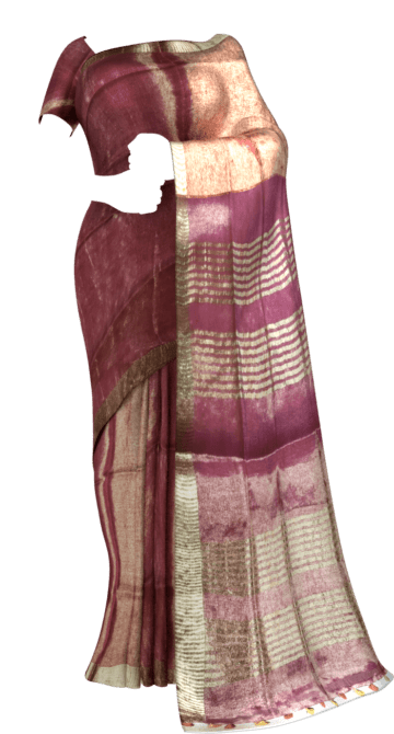 Bright Pink Tissue linen with Dovi border Thanksgiving Tissue Linen Sarees Winter Sale Yespoho Sarees New Arrivals