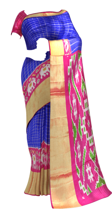 Pochampally Ikkat small Jari checks with elephant border and design pallu Yespoho Sarees New Arrivals Ikkat Sarees