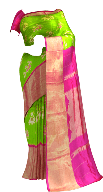Ikkat parrot green with elephant and sparrow design and pinkcolor pallu with kaddi border Thanksgiving Winter Sale Yespoho Sarees New Arrivals Ikkat Sarees