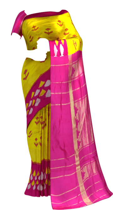 Ikkat kaddi border with allover anchor design Saree20 Yespoho Sarees Pochampally Sarees Ikkat Sarees