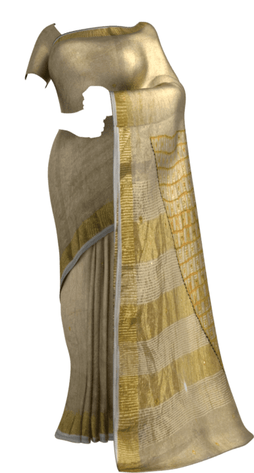Golden Tissue Linen with cut work pallu Linen Sarees Thanksgiving Winter Sale Yespoho Sarees New Arrivals