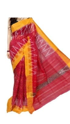 Bright Red & Light Yellow Dhanekali Tant Saree-yespoho
