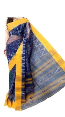 Dark Blue & Light Yellow Dhanekali Tant Saree-yespoho