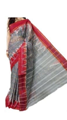 Red & Grey Dhanekali Tant Saree-yespoho