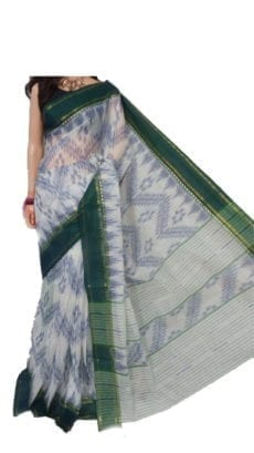 Dark Green & Off White Dhanekali Tant Saree-yespoho