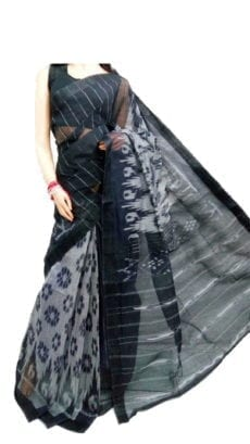 Black  & Off White Dhanekali Tant Saree-yespoho