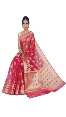 Rose Orange Kora Muslin  Sarees-yespoho