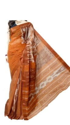 Light Brown & White Dhanekali Tant Saree-yespoho