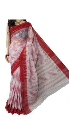 Red & Off White Dhanekali Tant Saree-yespoho