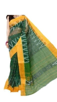 Dark Green & Light Yellow Dhanekali Tant Saree-yespoho