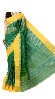 Green & Yellow Dhanekali Tant Saree-yespoho