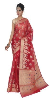 Red Kora Muslin Saree-yespoho