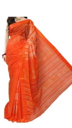 Orange Dhaniakhali Tant Saree-yespoho