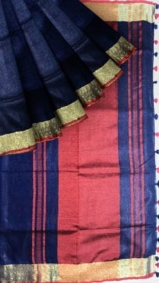 Dark Blue & Red Linen Saree With Gold Border-yespoho