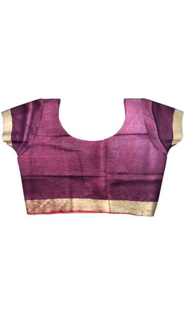 Dark Blue & Red Linen Saree With Gold Border with Unstitched Blouse