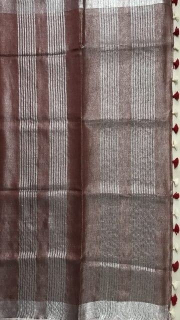Chocolate Brown Light chocolate Tissue linen Saree with Dovi Border