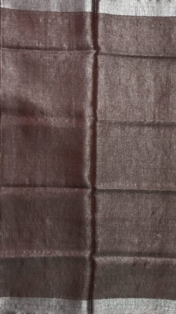 Yespoho Light chocolate Tissue linen Saree with Dovi Border