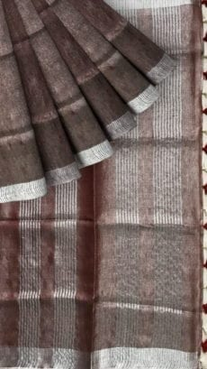 Light chocolate Tissue linen Saree with Dovi Border-yespoho
