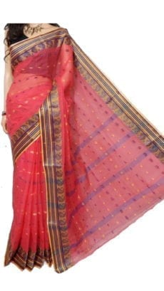 Light Red Bengal Tant Cotton Saree-yespoho