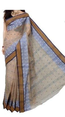Light Sandal  Bengal Tant Cotton Saree-yespoho