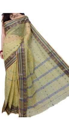 Light Golden Bengal Tant Cotton Saree-yespoho