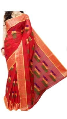 Dark Red Bengal Tant Cotton Saree-yespoho