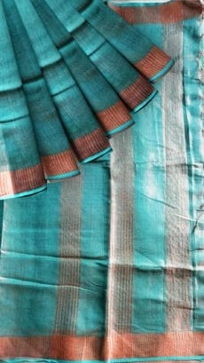 Green Tissue Linen saree-yespoho