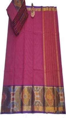 Magenta Cotton Saree with Pochampally Border-yespoho