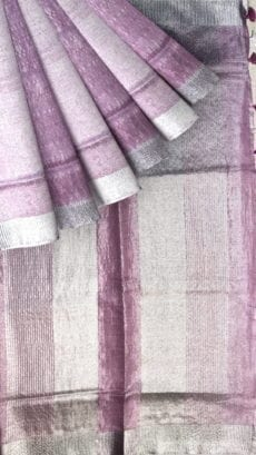 Baby Pink Tissue Linen Saree with Dovi Border-yespoho